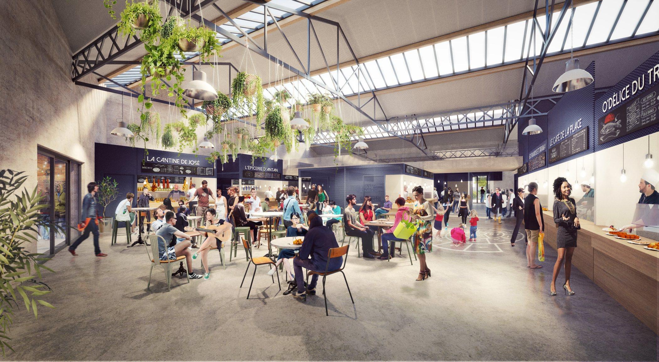 rendus d'intérieur 3D d'un espace commercial restaurant