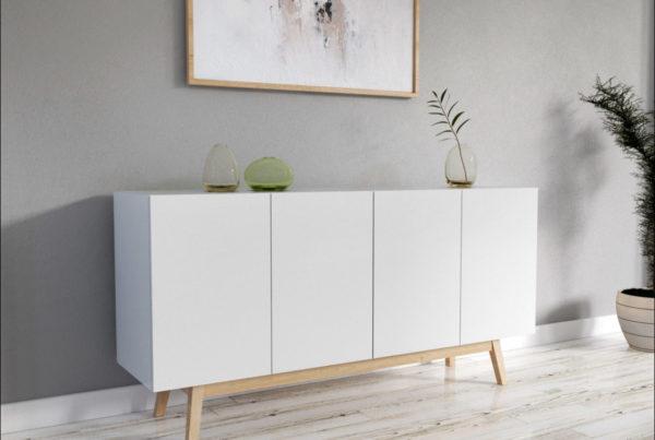 modélisation 3D et mise en scène 3D d'un meuble style scandinave