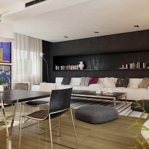 mise en situation 3D salon ambiance moderne