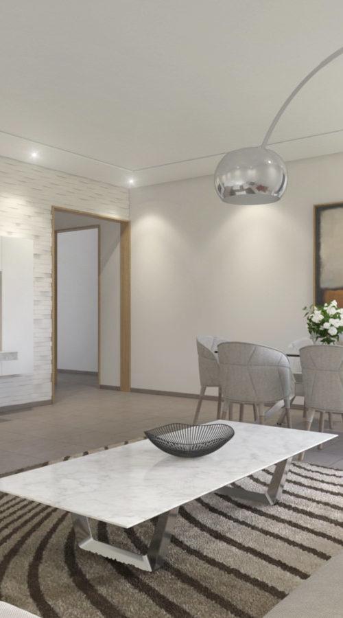 visualisation intérieure d'un salon dans une mise en situation 3D moderne