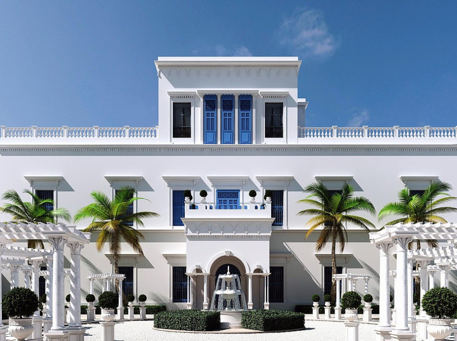 perspective 3D architecture en image de synthèse visuel 3D style oriental andalous et moderne