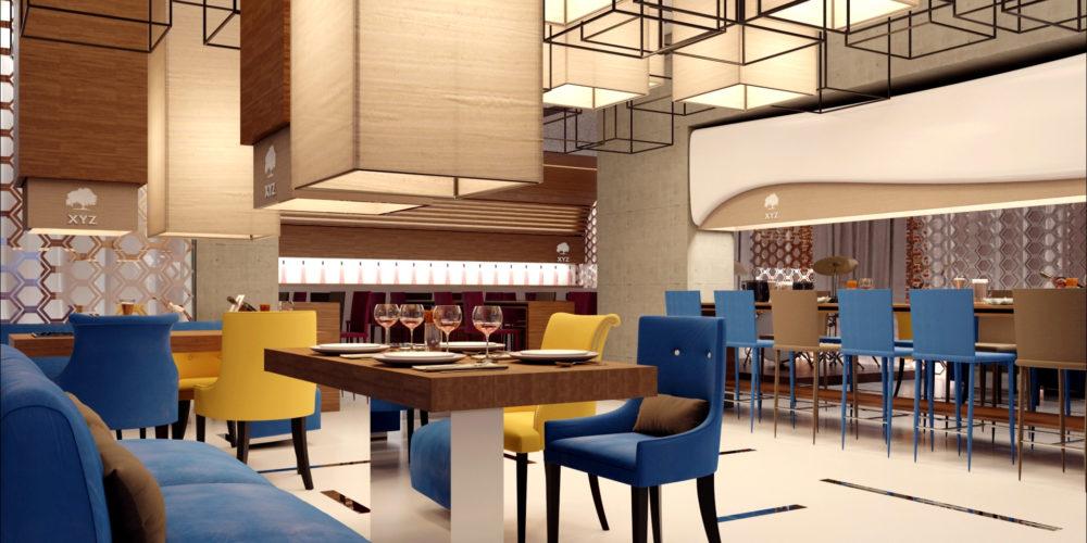 Mise en scène 3D architeture d'intérieur d'un restaurant