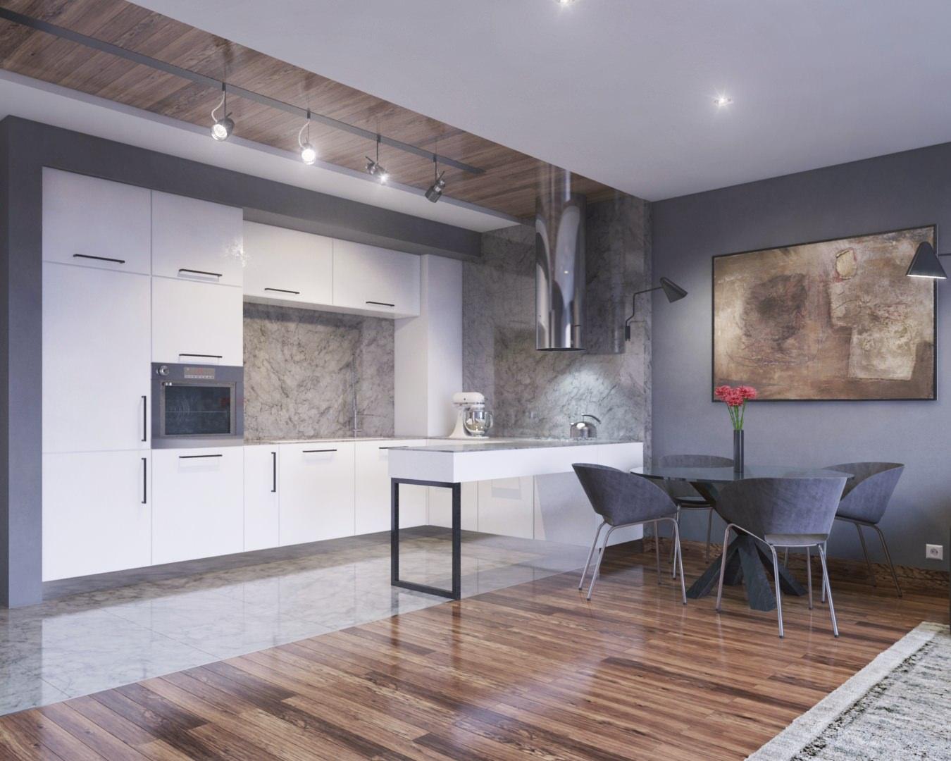 rendu 3D de cuisine design sur open space