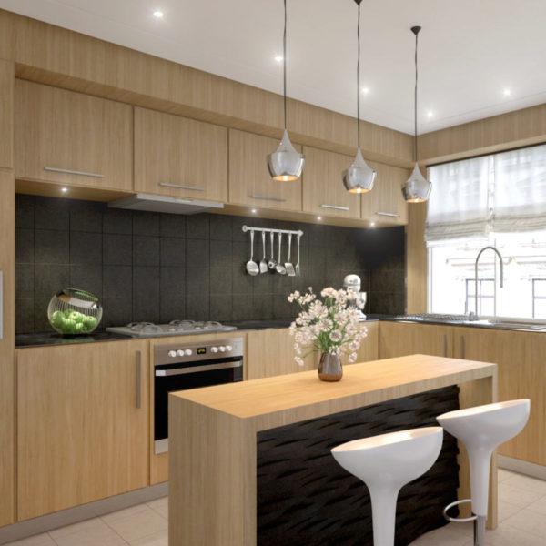 Rendu 3D d'une cuisine design et bois