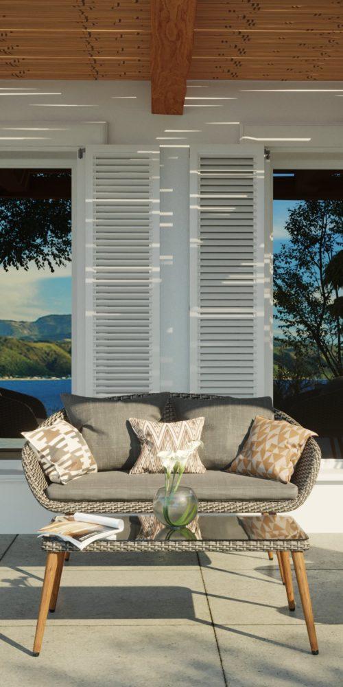 visualisation 3D de meuble extérieur salon de jardin