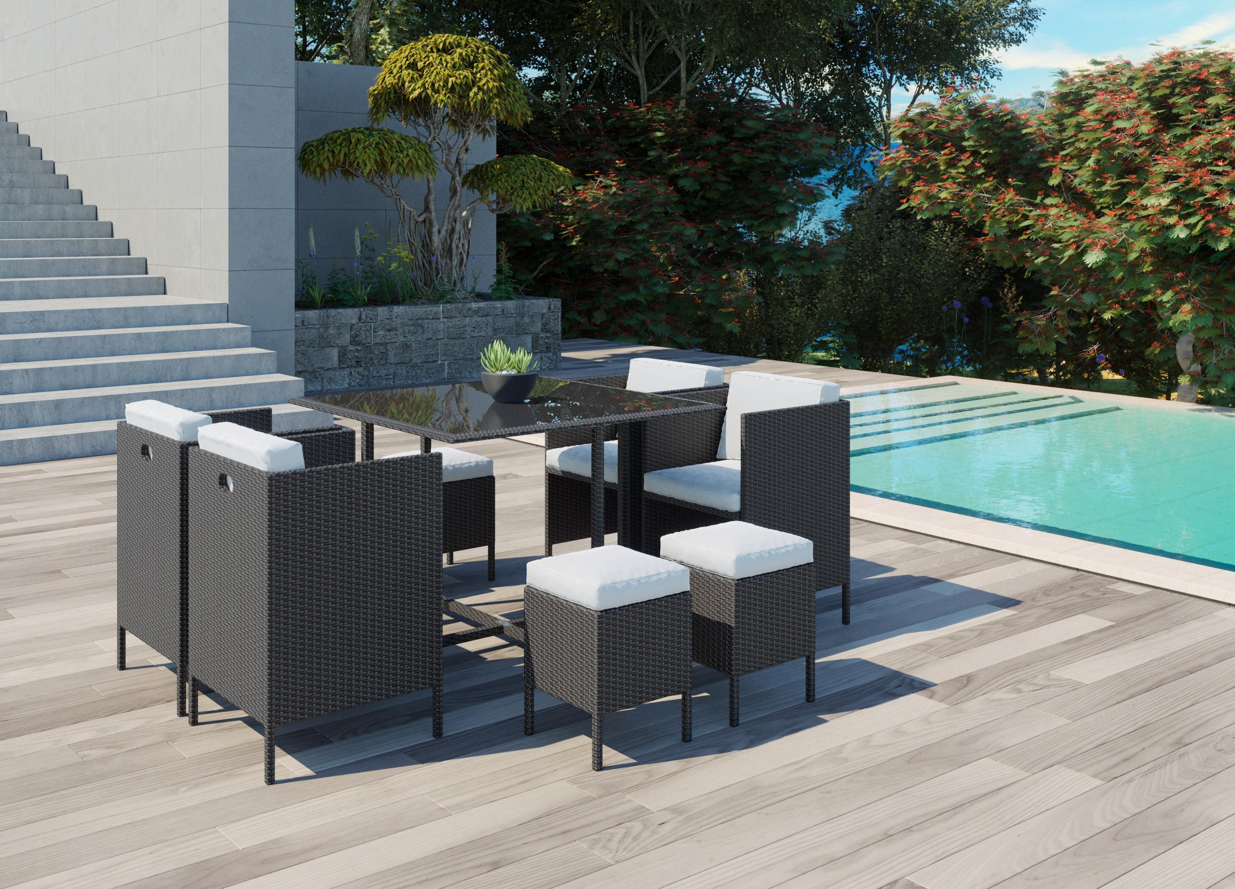 visualisation 3D de meuble extérieur ambiance luxueuse méditerrannéenne