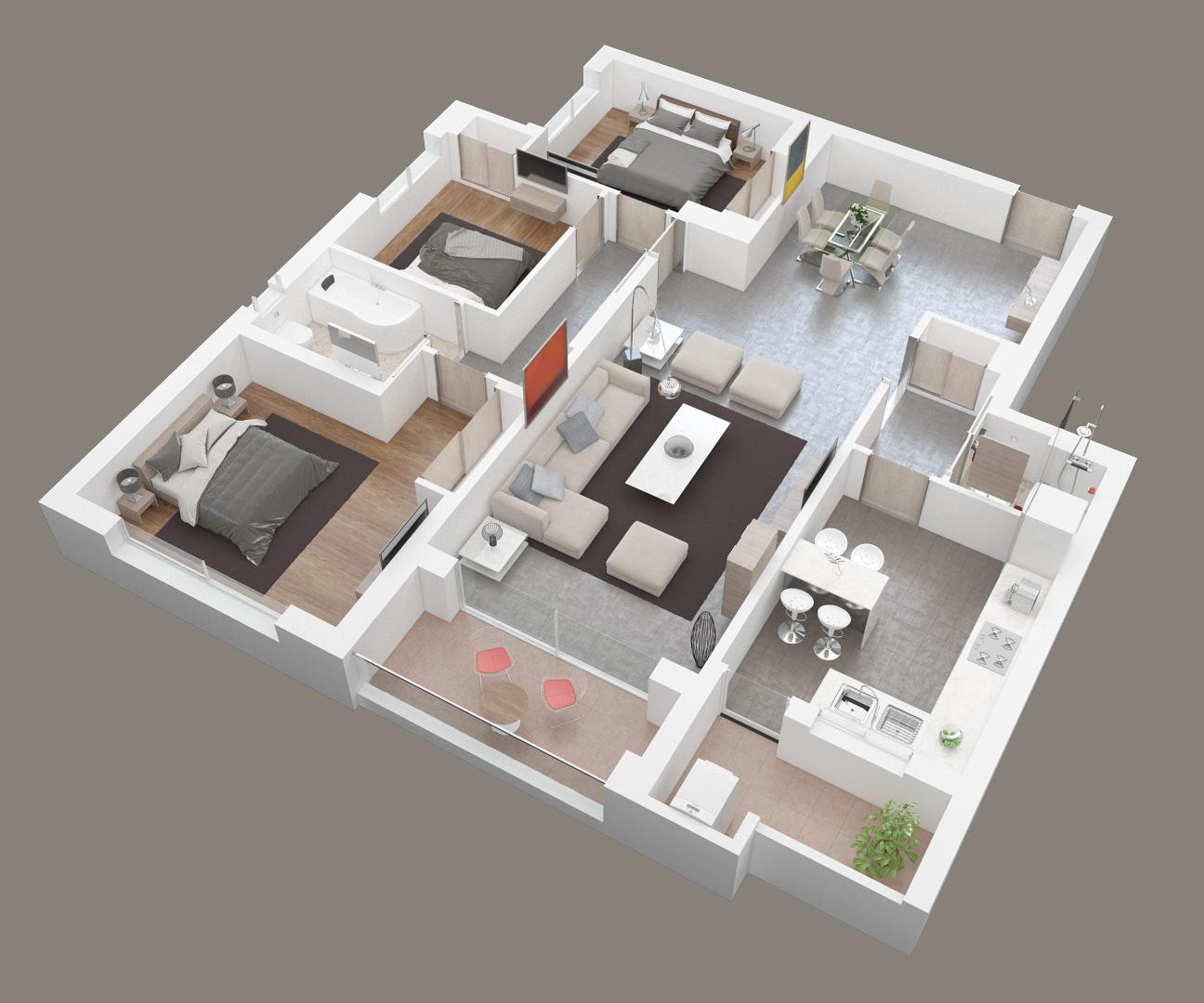 exemple plan 3D architecture réalisé en image 3D