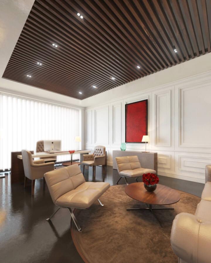 rendu 3D photo réaliste de mobilier de bureau professionnel luxueux