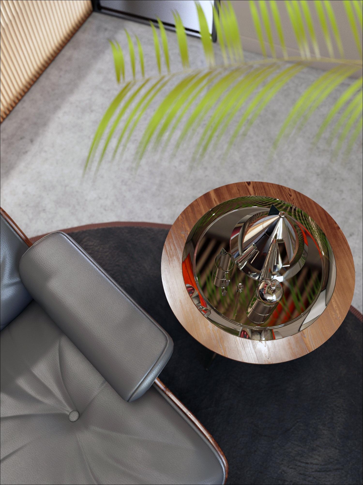 détail d'un rendu 3D photo réaliste de mobilier de bureau professionnel