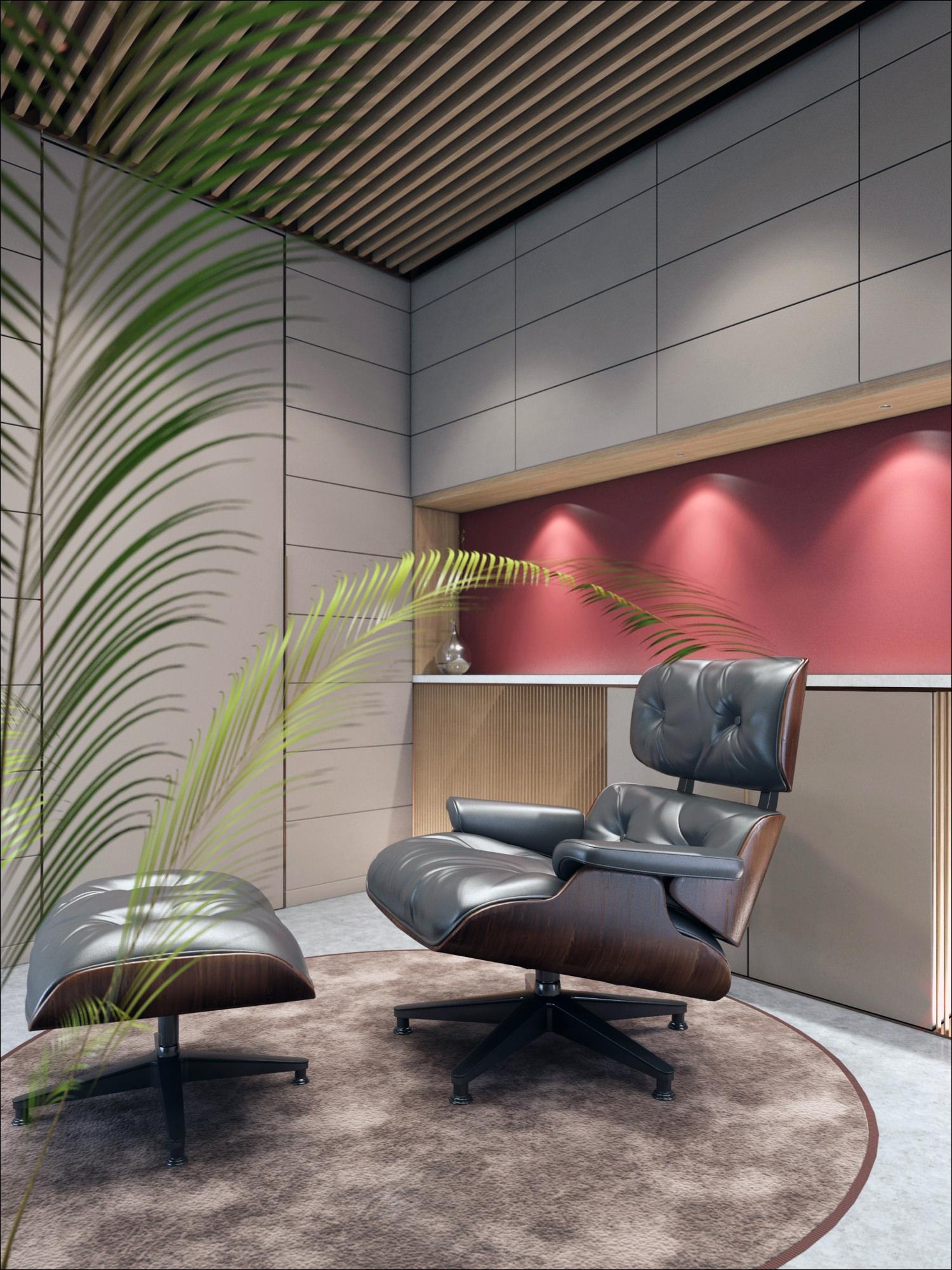 rendu 3D photo réaliste de mobilier de bureau professionnel