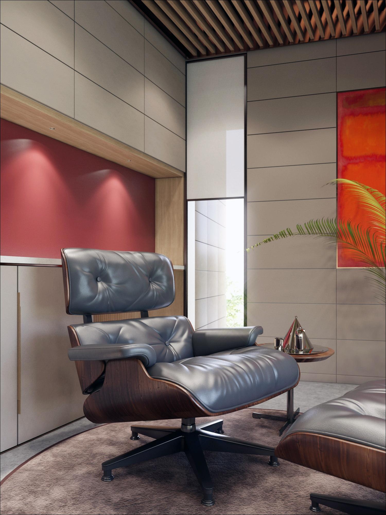 rendu 3D photo réaliste de mobilier de bureau design