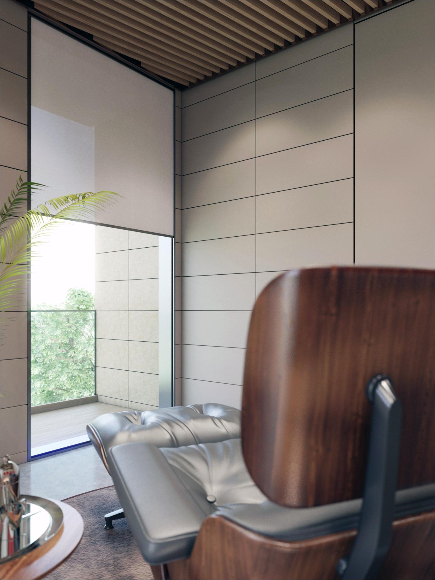 vue contre plongeante d'un rendu 3D photo réaliste de mobilier de bureau