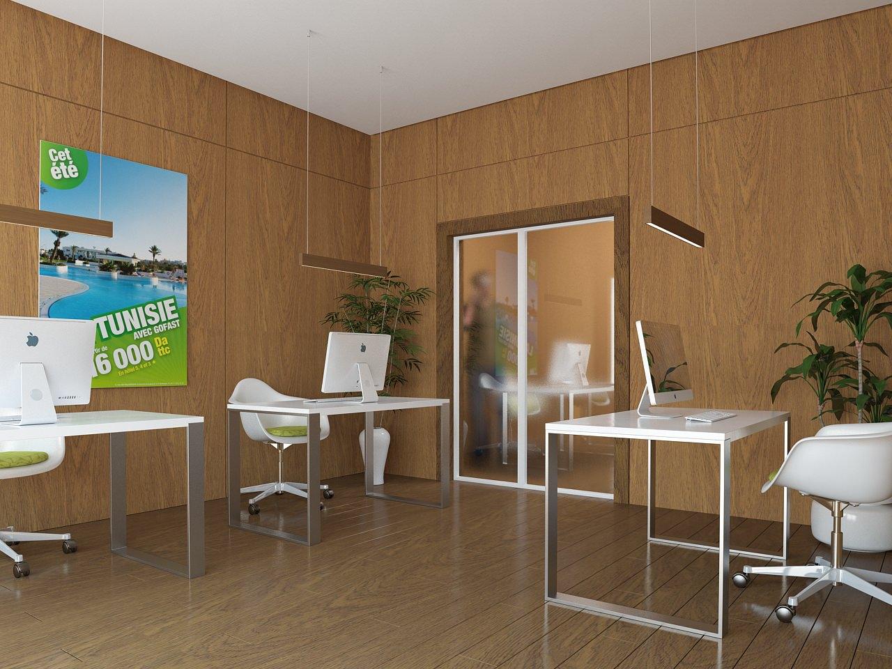 perspective intérieure 3D d'une agence de voyage - local professionnel - image 3D
