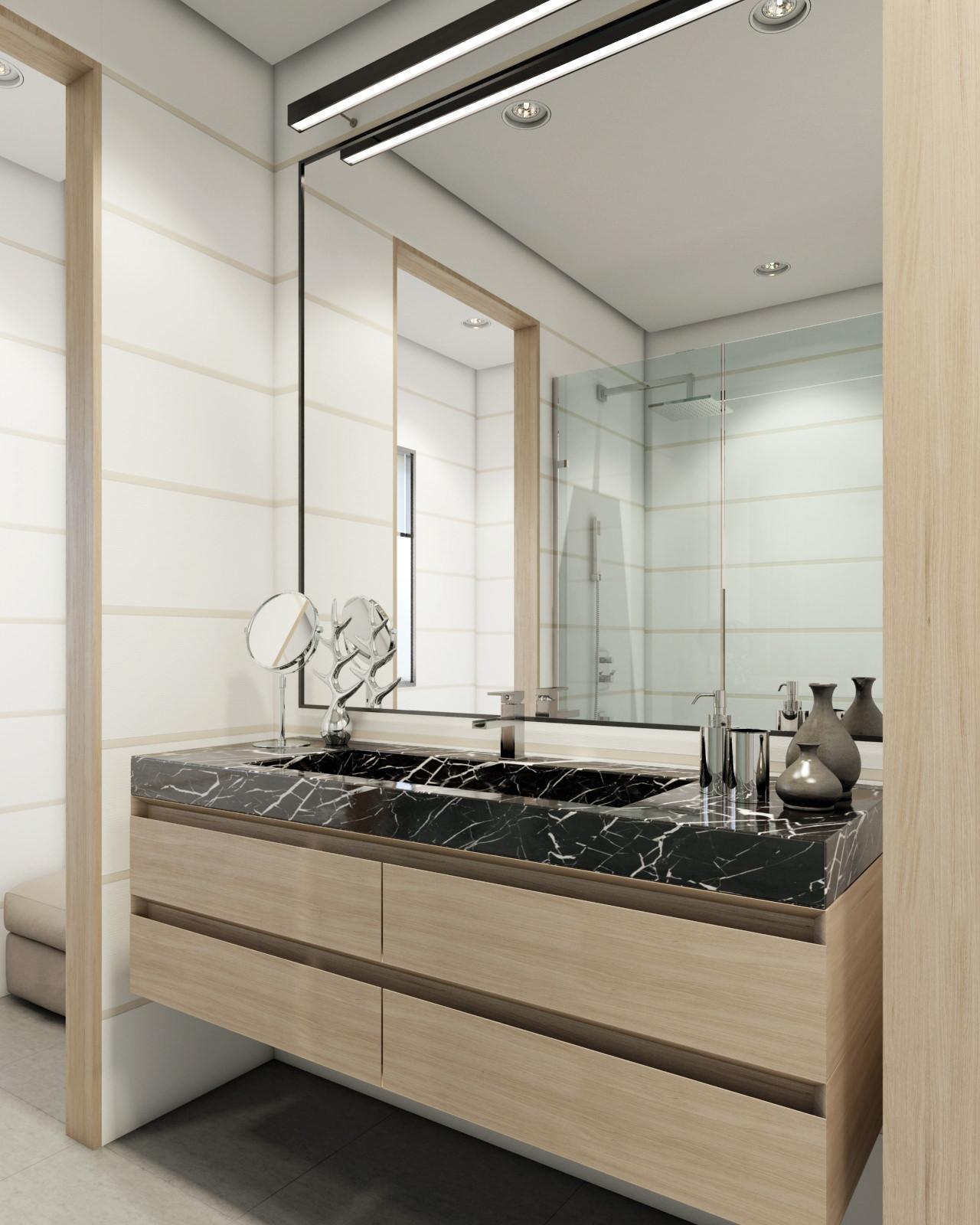 La perspective intérieure de salle de bain visuel 3D architecture de qualité