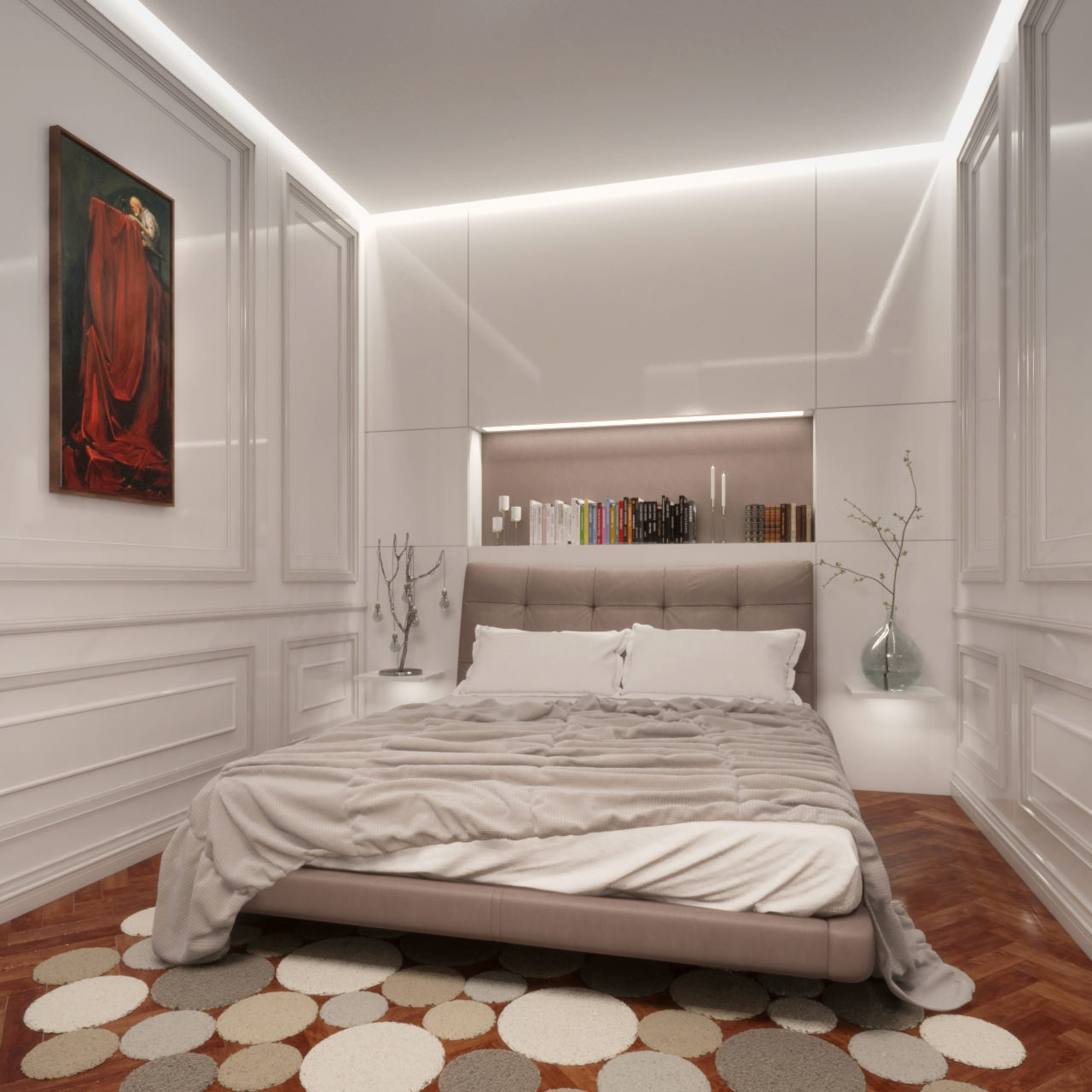 image 3D photo réaliste d'une chambre à coucher ambiance moderne
