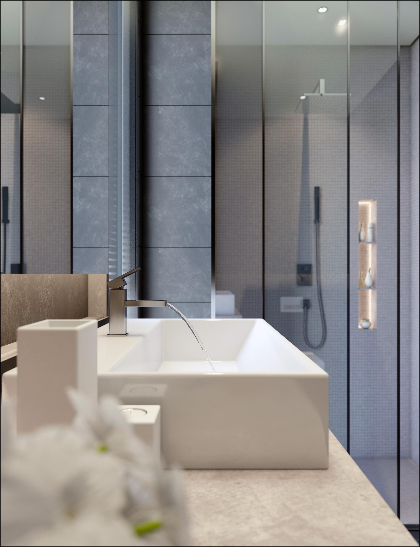 perspective intérieure de salle de bain idéale pour mettre en scène la robinetterie