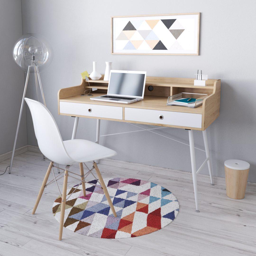 photo 3D pas cher - bureau dans une ambiance scandinave