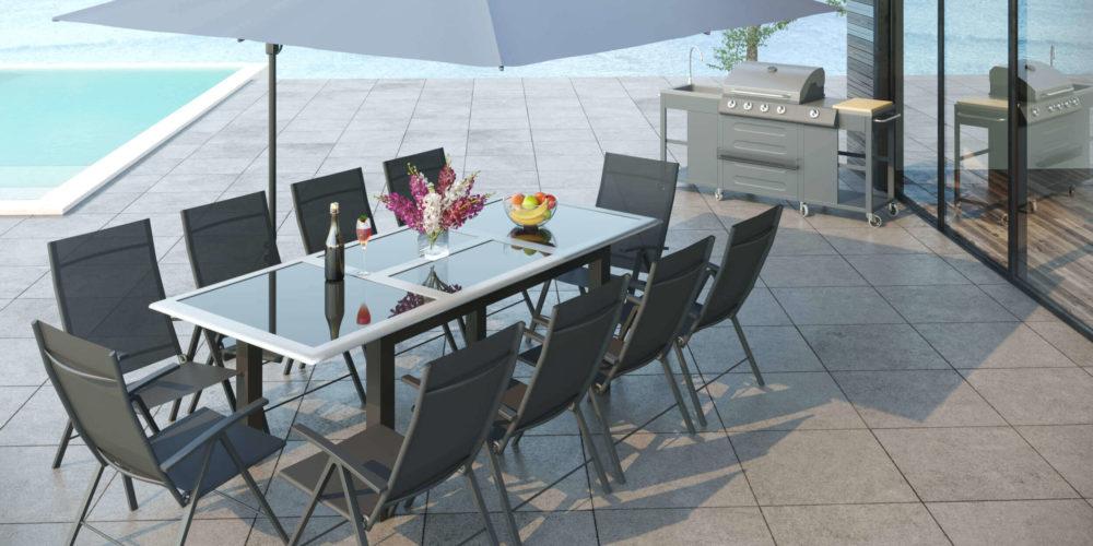 mise en scène d'un mobilier de jardin dans une perspective d'architecture extérieure