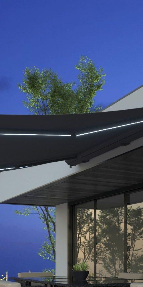 modélisation et illustration 3D photo realiste de mobilier extérieur dans une ambiance lifestyle de soir de nuit