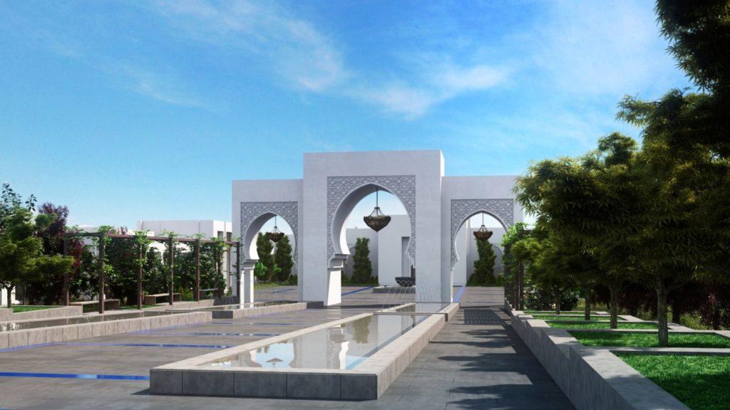 perspective d'architecture 3D illustrée d'un jardin d'hôtel
