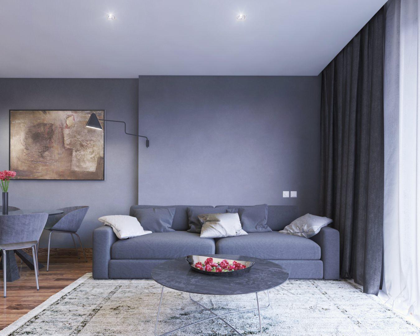 illustration 3D photoréaliste d'un canapé dans un salon moderne ton bleu