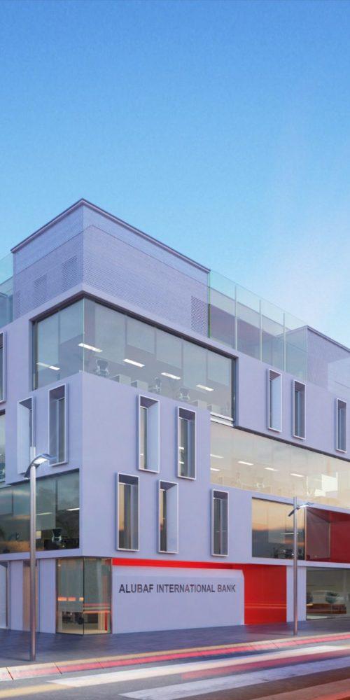 perspective d'architecture extérieure d'un immeuble moderne