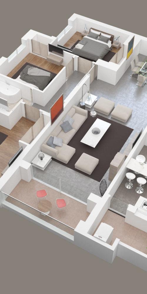 visualisation 3D d'un plan 3D pour l'immobilier