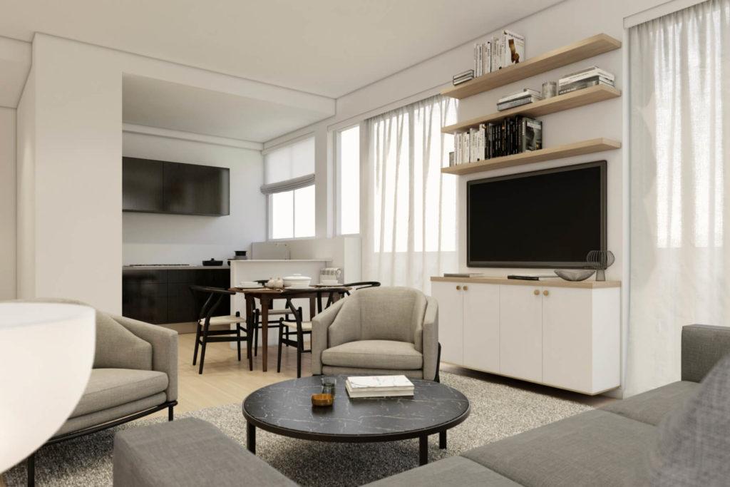 perspective 3D d'architecture pour un projet de rénovation d'appartement