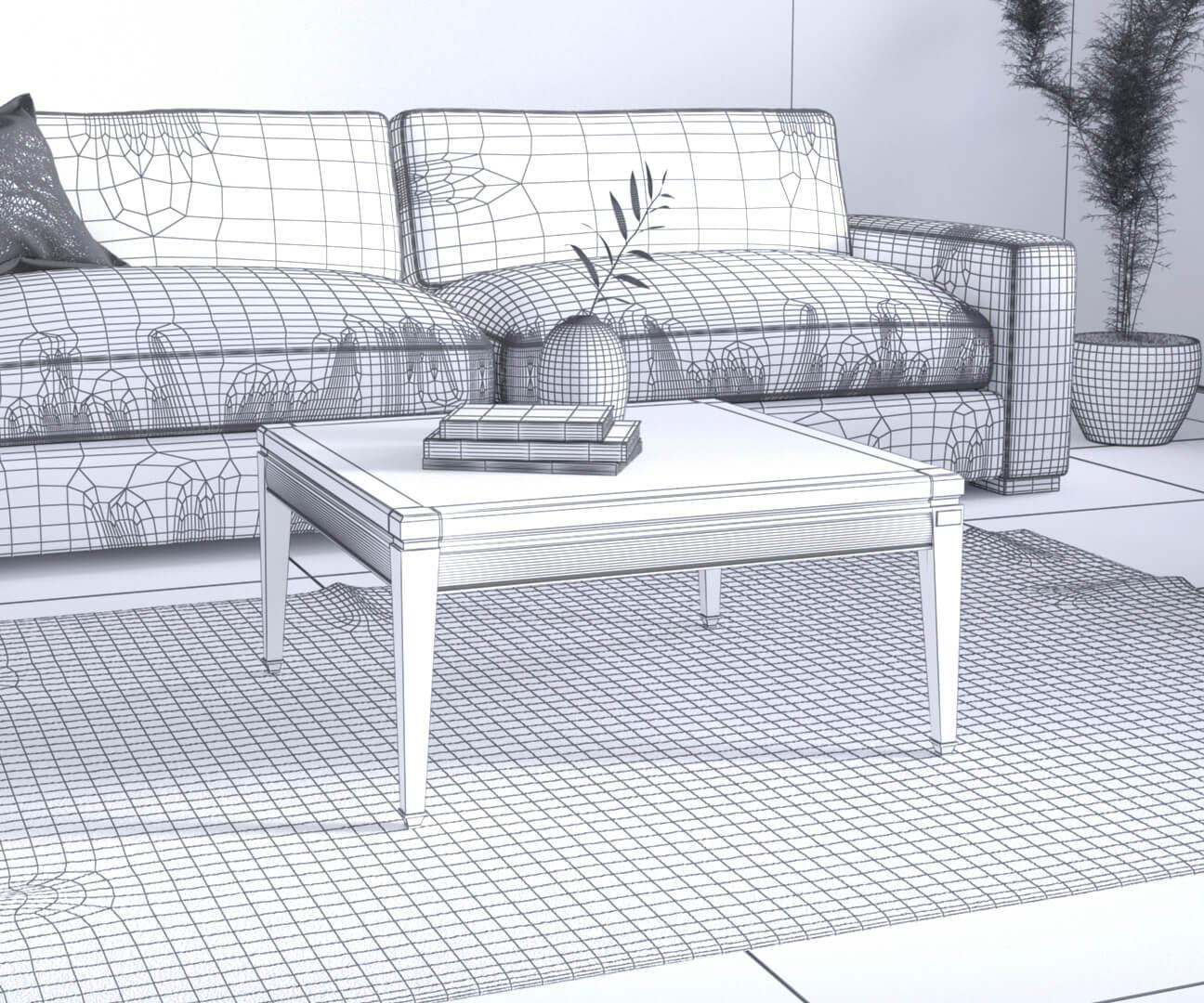 preview du visuel 3D avant application des textures et de la lumière