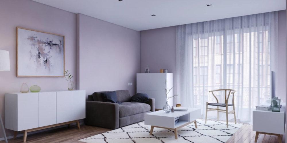 création d'une perspective d'architecture mettant en scène plusieurs meubles modélisés en 3D