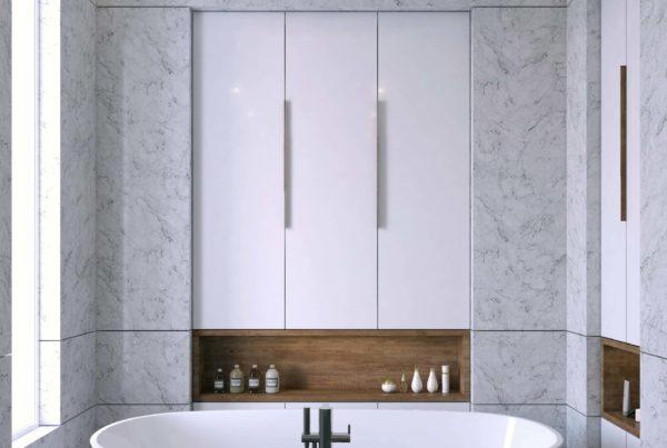 création d'une perspective d'architecture mettant en valeur une salle de bain et sa baignoire