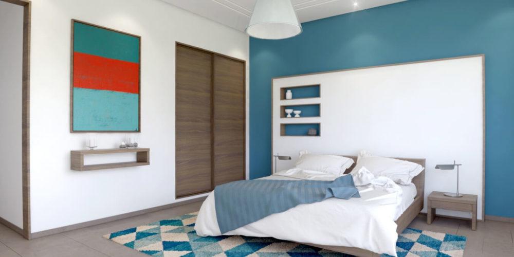 reproduction en 3D d'une chambre pour adulte imaginée par un designer d'intérieur