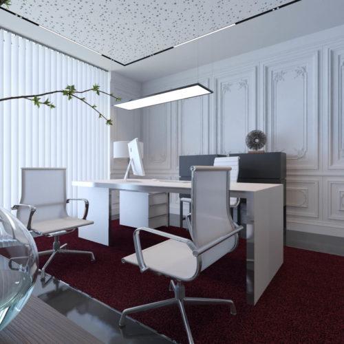 réalisation d'un visuel 3D d'architecture d'un bureau style blanc et acier