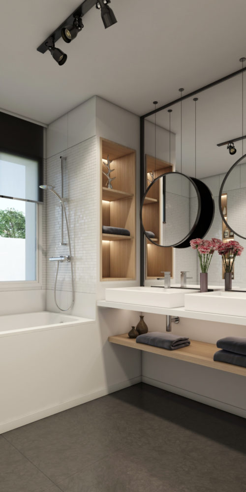 réalisation d'une perspective d'architecture de salle de bain pour un architecte designer