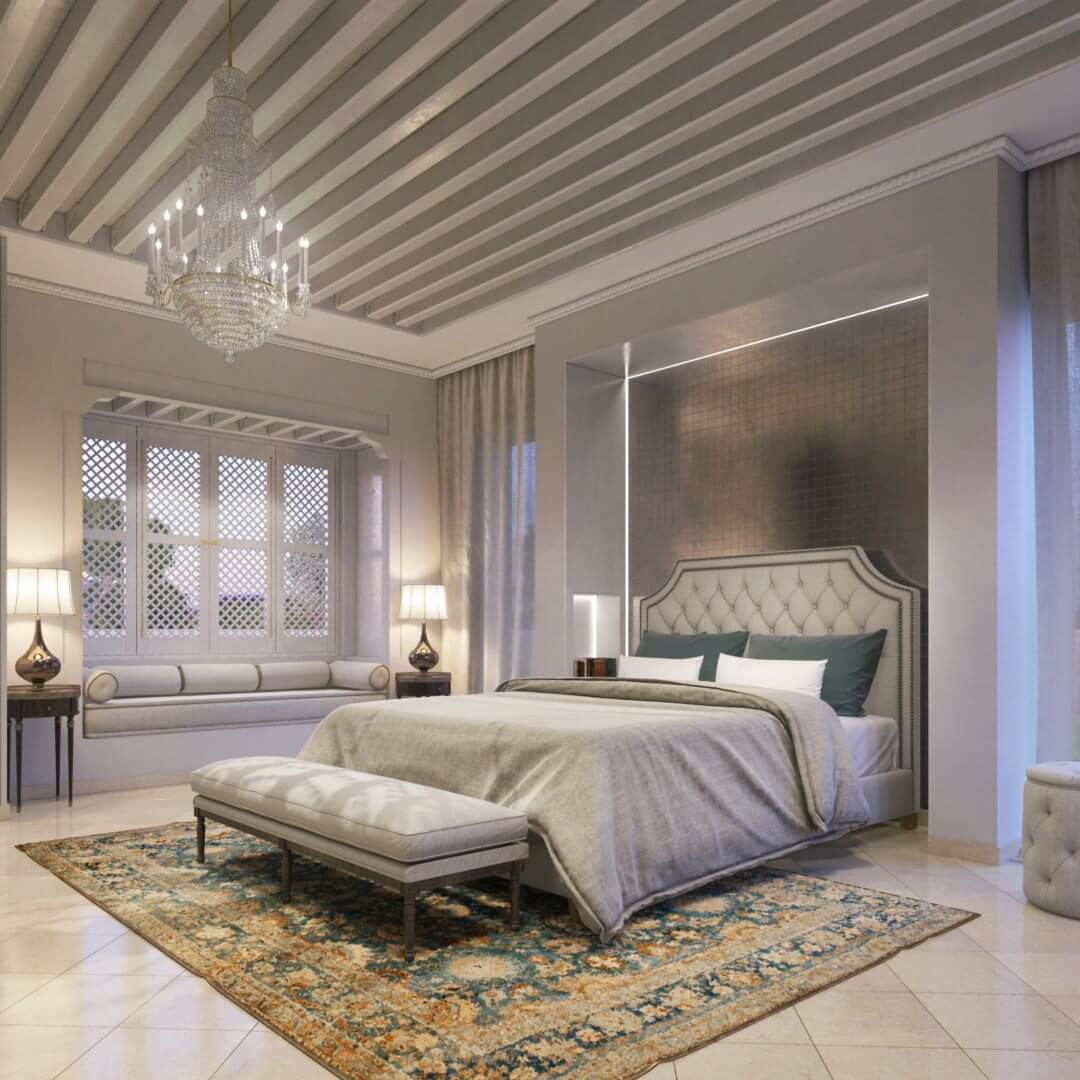 perspective d'architecture intérieure de style oriental - agence de création de rendu 3D