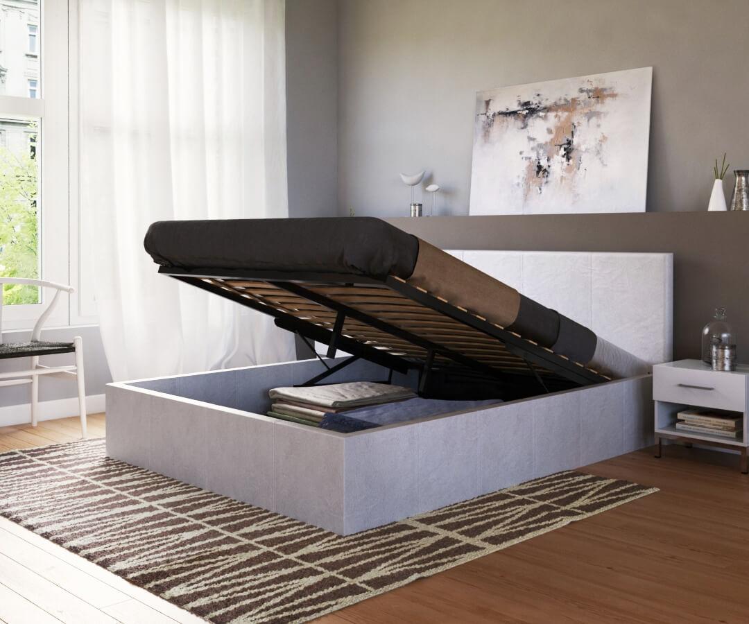visualisation de 3/4 d'un lit mis en ambiance grâce à notre service de création de visuel 3D