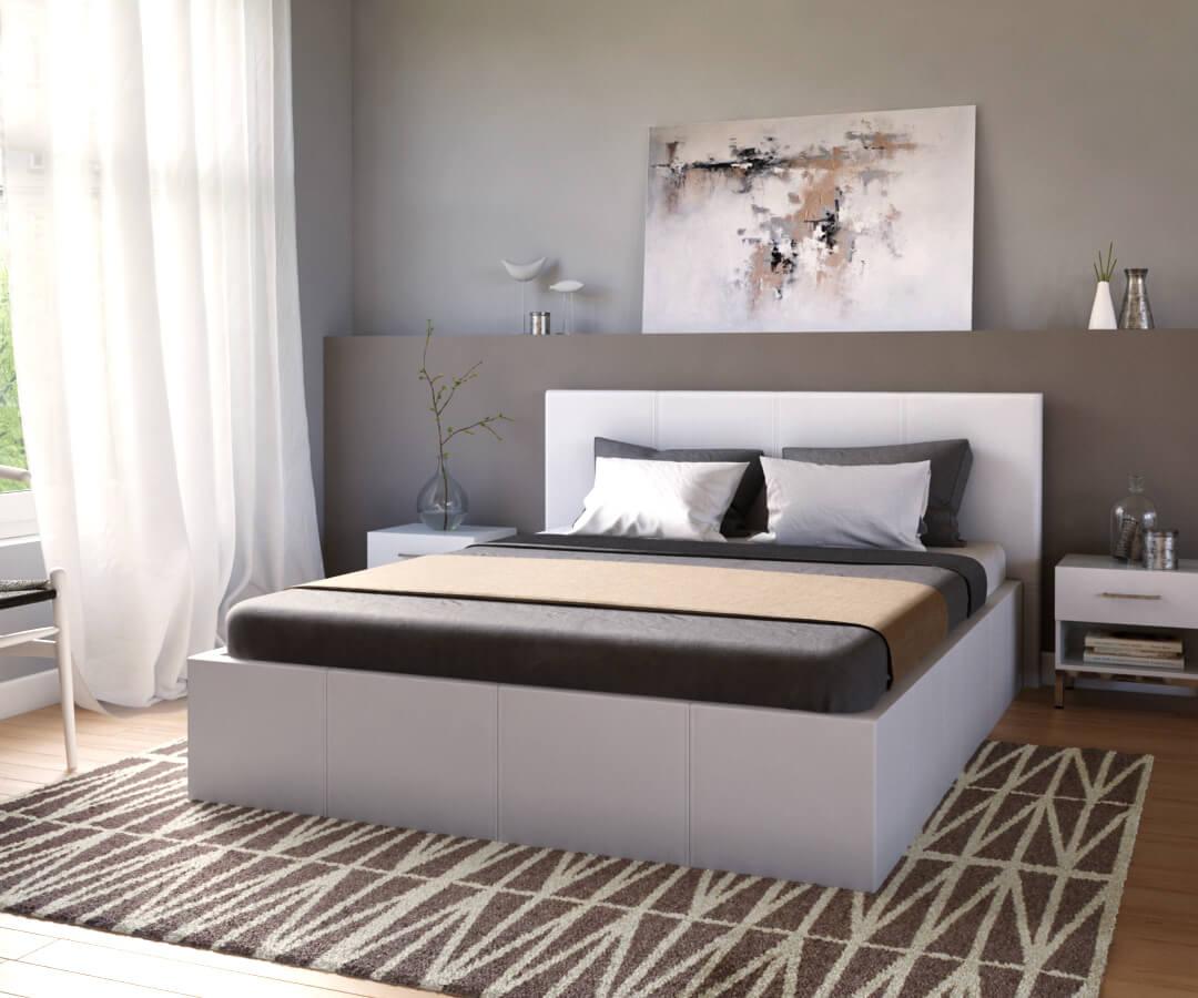 déclinaison du lit coffre fermé exécuté à moindre frais grâce à notre service de création de visuel 3D