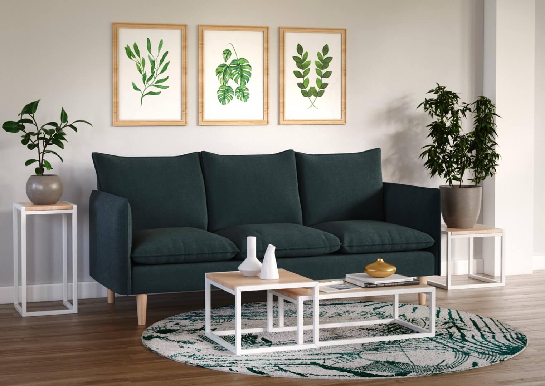 visuel 3D d'un canapé inséré dans une ambiance harmoniseuse