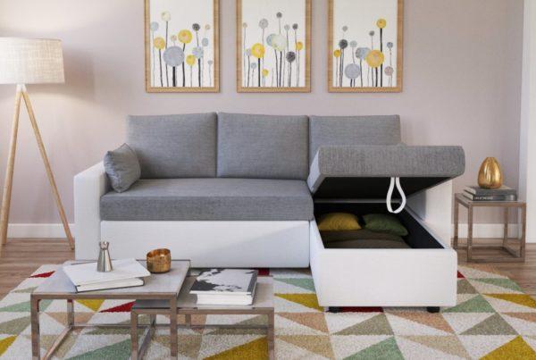 visuel 3D photoréaliste d'un canapé,insérée dans une mise en scène design