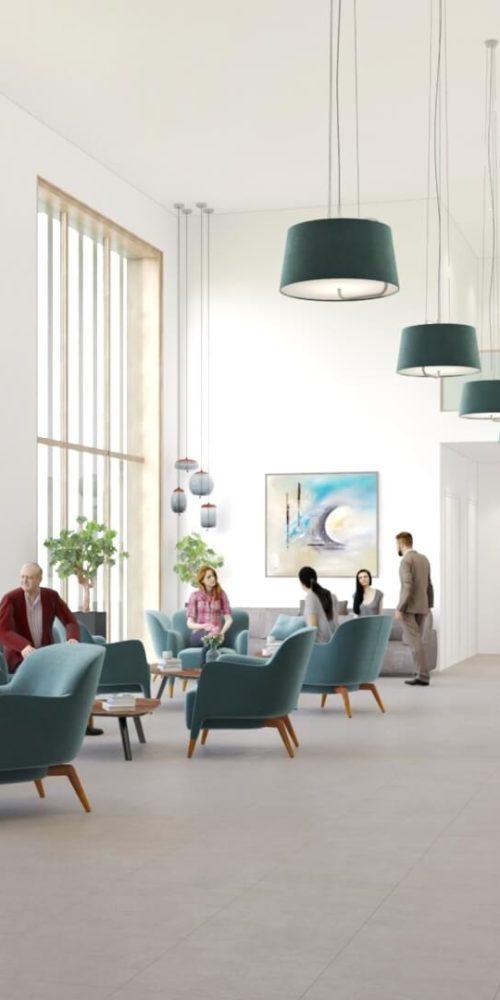animation vidéo pour l'immobilier : hall d'une résidence de luxe pour sénior