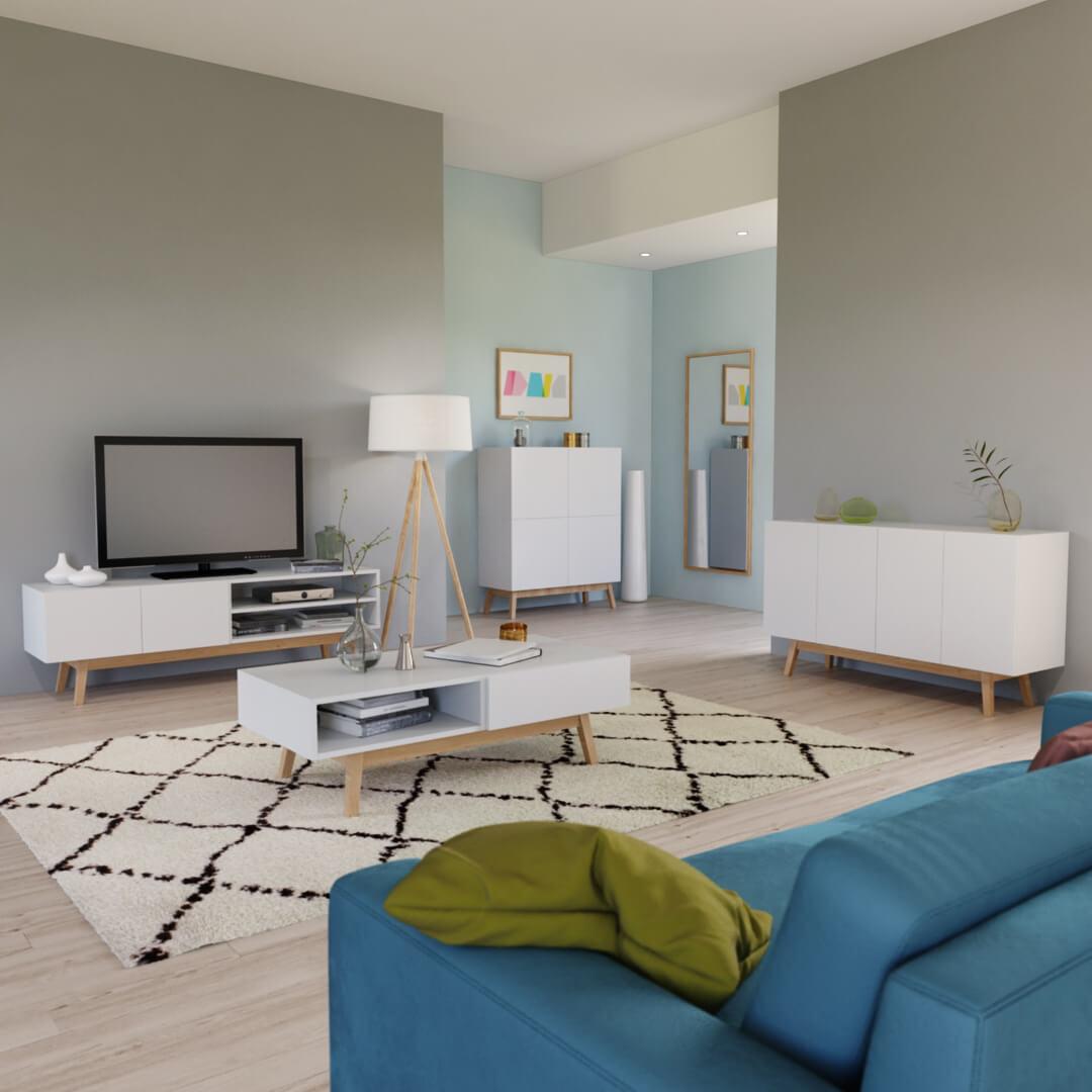 la mise en situation d'un ensemble de meubles permet de présenter une gamme