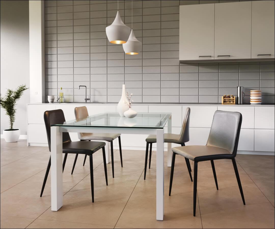 visuel photo réaliste de produit - des chaises dans une cuisine