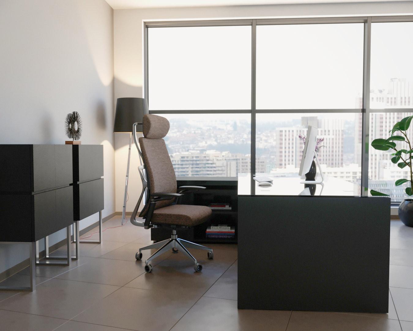 mise en ambiance d'un fauteuil et mobilier de bureau réalisé par un prestataire de visuel 3Dréalisé