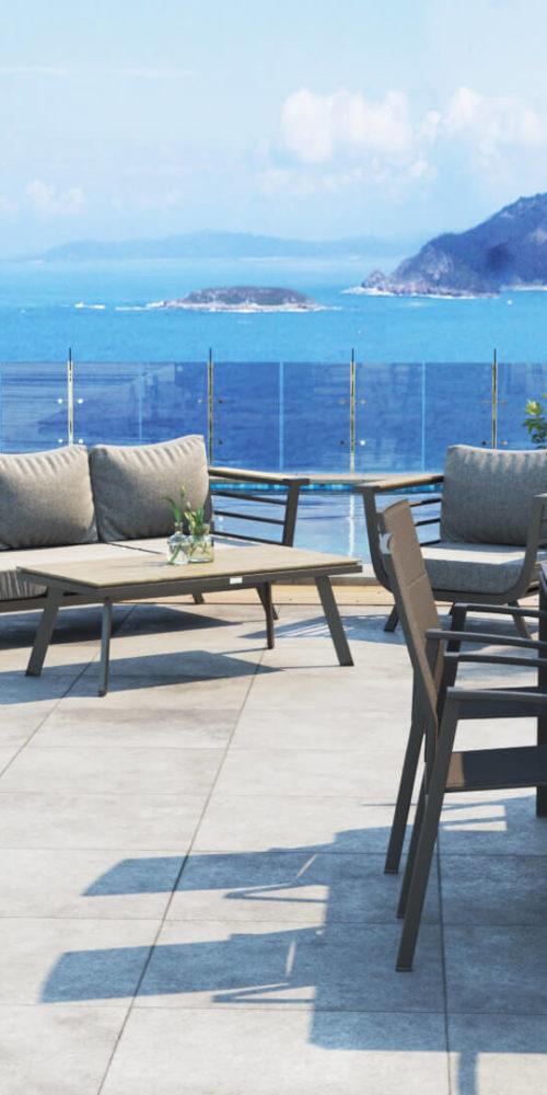 image réalisée en 3D pour illustrer du mobilier d'extérieur - participer à un salon professionnel