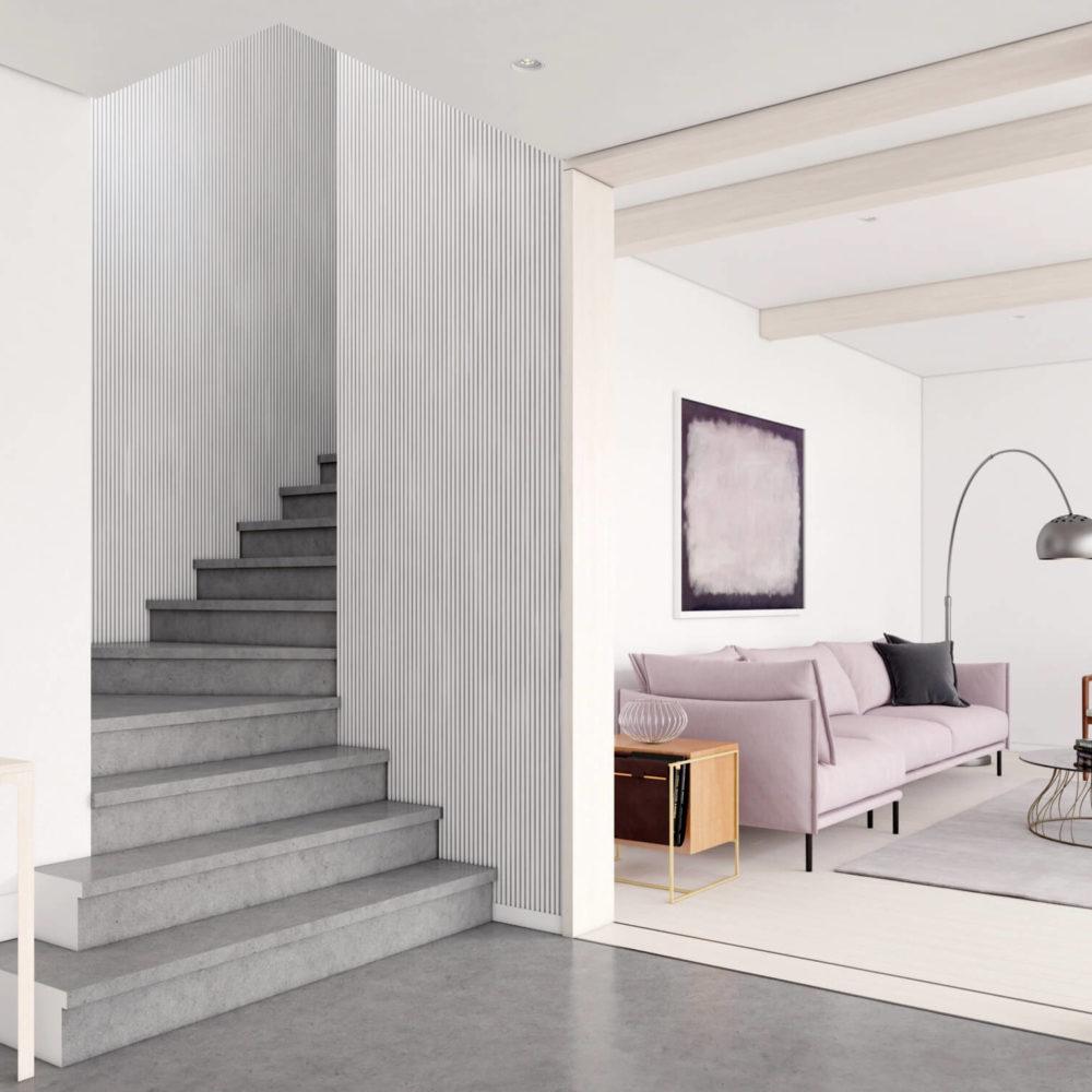 mise en valeur d'escalier avec une image de synthèse 3D