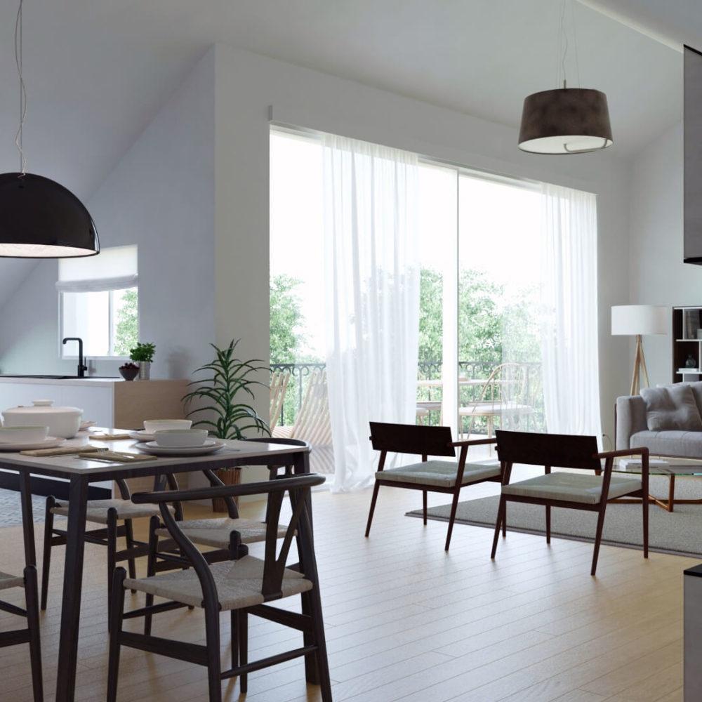 perspective d'architecture virtuelle : projet d'un architecte d'intérieur - rendu 3d professionnel