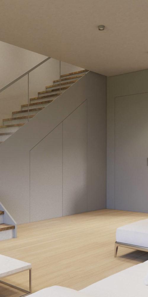 image d'architecture 3D mettant en valeur un escalier
