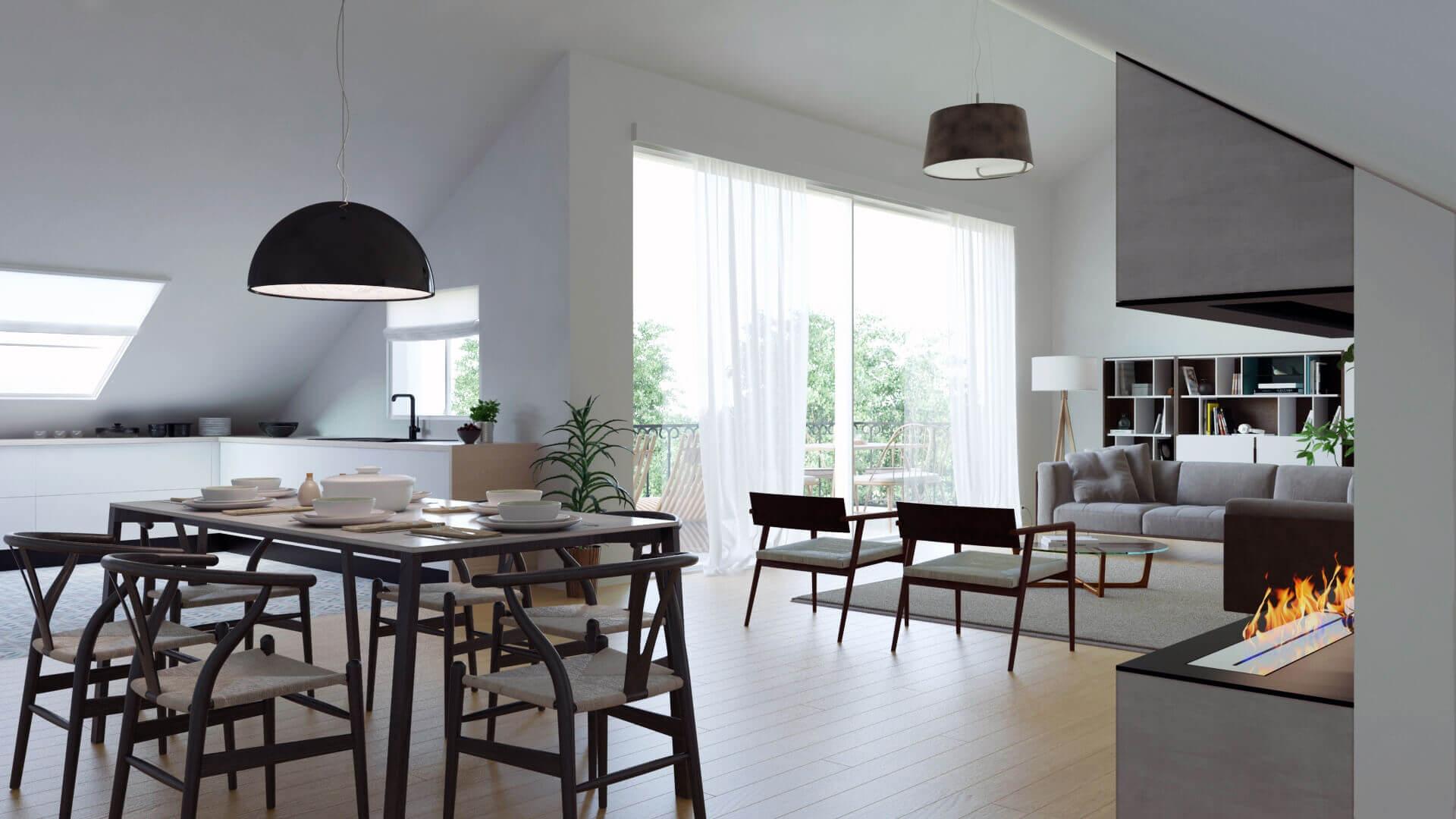 image architecture 3D d'un salon conçu par un architecte d'intérieur