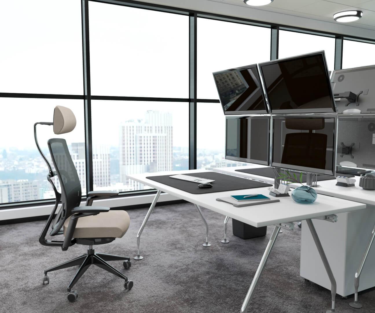 mobilier de bureau inséré dans une prise de vue 3D