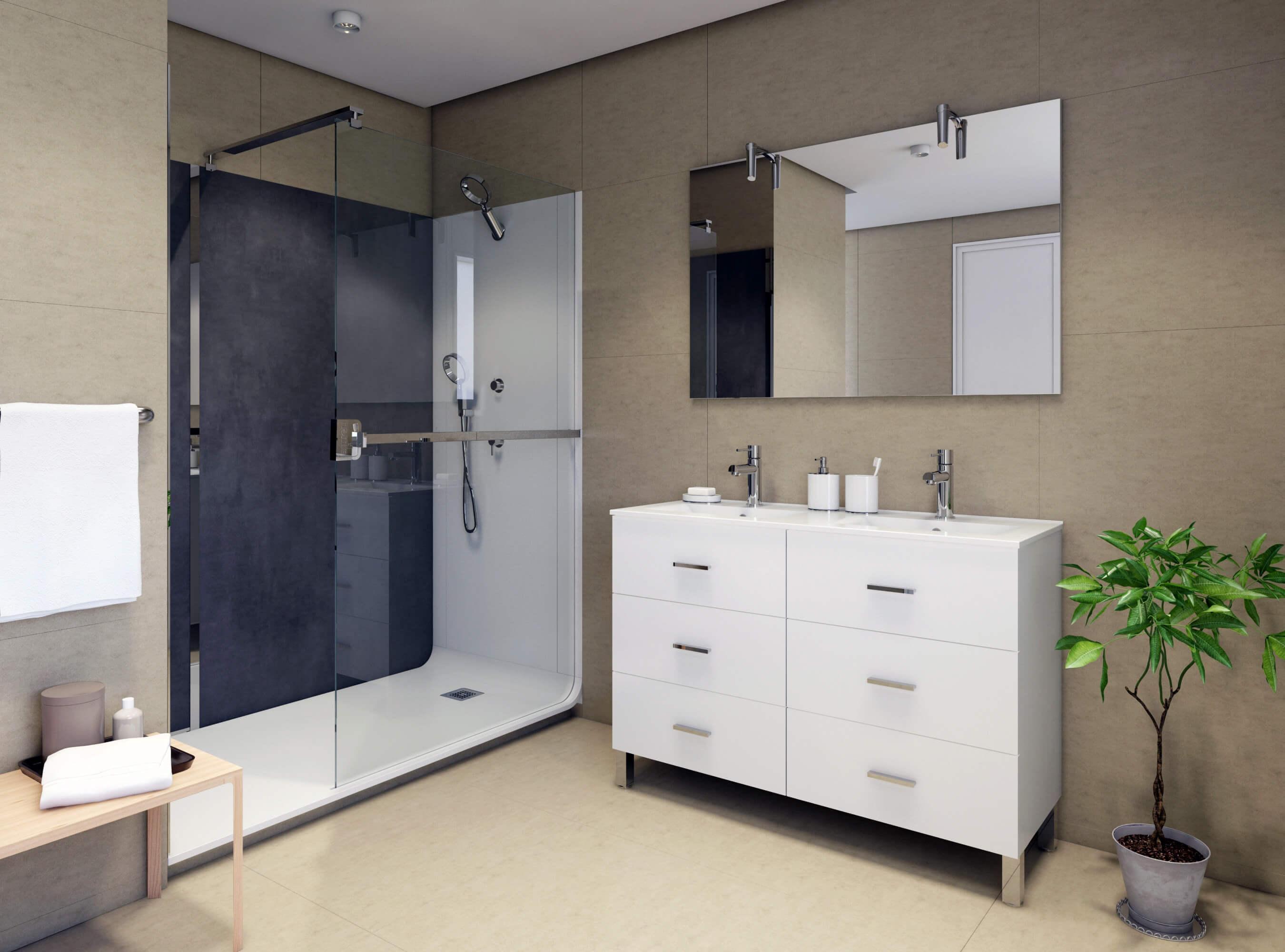 prise de vue 3D de mobilier pour salle de bain